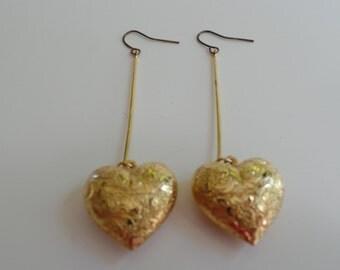 Vintage Goldtone Heart Drop Earrings, Heart Earrings, Gold Earrings, Gold Heart Pierced Earrings,