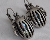 Vintage earrings, pewter earrings, beetle/scarab earrings, multi-colored glass earrings, bug earrings,pierced ears