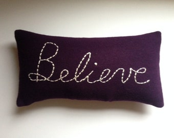 BELIEVE Purple Wool Pillow for Instant Inspiration