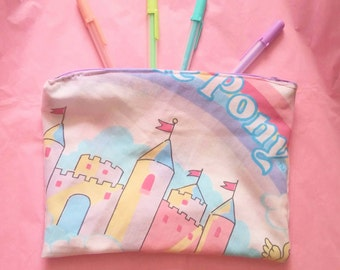 My little pony upcycled vintage style zipper top pencil or cosmetic bag castle mlp g1