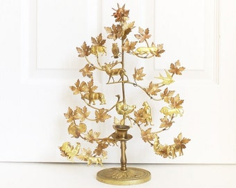 "Brass Dresden Tree of Life Candle Holder 16 Animals 16"" Vintage Petites Choses"