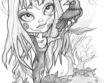 adult coloring page grayscale coloring page printable coloring page digital download halloween fantasy art