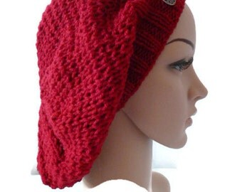 Hand knit Slouchy Beanie, Red Beret, Knit Beanie, Red Slouchy Hat
