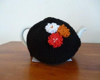 2 Cup Tea Cozy, Teapot Cozy, Teapot Warmer, Knit Teapot Cozy, Black Teapot Cozy