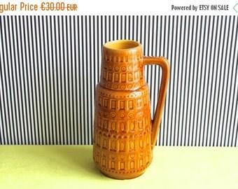 Summersale Scheurich West German Pottery Okra Single Handled Vase Inka Dekor