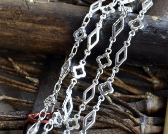 flower and rhombus Link Chain,metal chains,brass chain,jewelry findings
