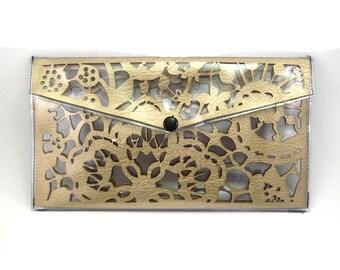 Gold Lace Transparent Clutch - Laser Laser Cut clutch, vegan clutch, vegan purse, vegan leather, vegan clutch, vegan leather clutch, clear