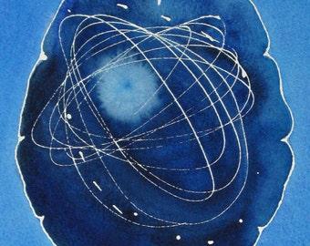 Cosmic Exploration Brain -  original watercolor painting