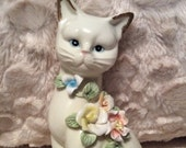 "PRE SPRING SALE Vintage Flower Siamese Cat Figurine Excellent Condition 8"" Tall"