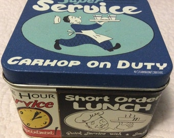 20% OFF SALE Kitschy Old Fashion Service Tin Container with Ads Carhop