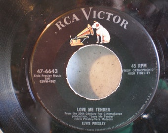 Vintage Mid Century RCA Victor 45 RPM Elvis Presley Record - Love Me Tender & Anyway You Want Me