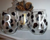 Initial Glasses, Personalized Wine Glasses,  Polka Dot Single Letter Wine Glasses Gift Wrapped