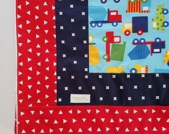 Red and blue truck baby blanket, minky dot back