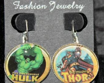 The Hulk Thor Avengers Civil War Marvel Earrings Silver Drop Comic Book