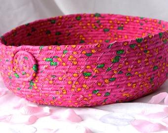 Pink Cat Bed, Handmade Hot Pink Cotton Basket, Fun Pink Dog Bowl, Storage Organizer, Pet Bed, Dog Bed, Toy Storage Bin