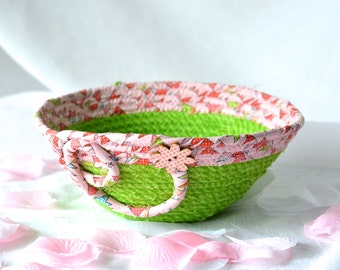 Pink Basket Home Decor, Handmade Coiled Fabric Basket, Pretty Candy Bowl, Unique Candy Dish, Lovely Pink Office  Decoration