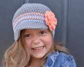Crochet Beanie with Brim, Crochet Hat, Hat for Girls, Girl's Crochet Hat, Crochet Beanie Hat for Girls,  Hat for Toddlers, Hats for Babies
