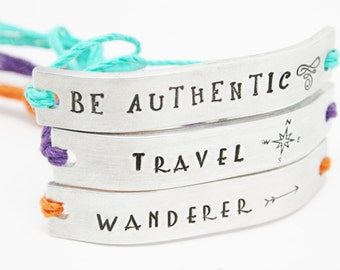 SET of 20 Friendship Bracelets BFF Custom Hand Stamped Friends Name Tie On Hemp Cord Personalized Word Name Date Church Group Teen Gifts