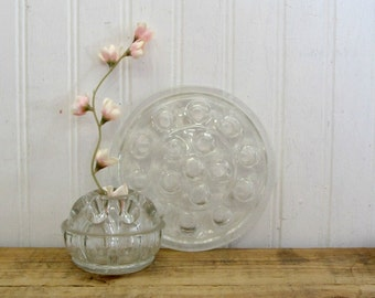 Two Vintage Glass Flower Frogs