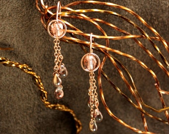 Rose Gold Filled Crystal Earrings