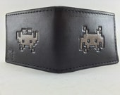 Space Invaders Hand Tooled Leather Wallet (Upside down discount)