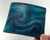 Starry Night - Van Gogh Inspired Hand Tooled and Dyed Wallet