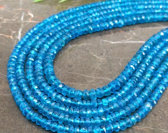 Natural Neon Blue Apatite 3-3.5mm Faceted Rondelle Gemstone Beads / Approx 180 pieces on 14 Inch long strand / JBC-ET-147582
