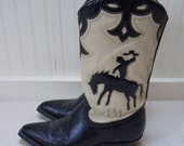 SALE Barely Worn Vintage Mexican Leather Inlay Cowboy Western Boots W 6.5