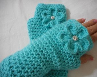Crochet Fingerless Mittens, Crochet Fingerless Glove, Women's Glove, Wrist Warmer, Hand Warmer, Texting Glove, Women's Gift, Aqua, Turquoise