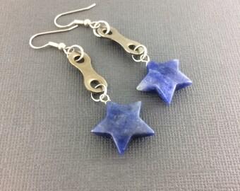 Star bicycle chain earrings, bike jewelry, Mountain bike earrings, fixie accessory, bmx gifts, cycling present