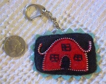 Felted Zipper House Keychain Fob Backpack Purse Charm