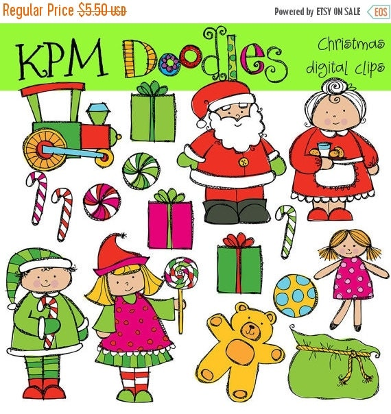 ON SALE KPM Santa and Mrs Clause Digital Clip art Combo