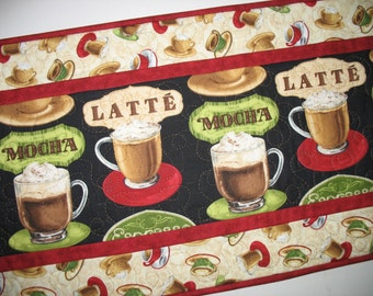 Coffee Table Runner, Mocha, Latte, quilted,  fabric from Wilmington Prints