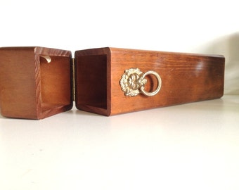 Wood Match Stick Box with Lion Accent