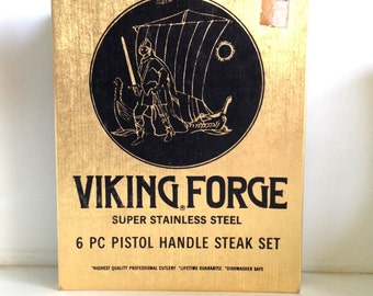 Vintage Viking Forge Stainless Steak Knife Set