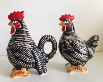 Japan Vintage Rooster and Hen Salt & Pepper Shakers