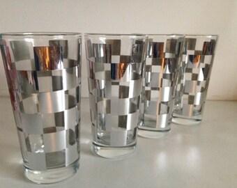 Vintage Silver Checkered/Geometric Glasses