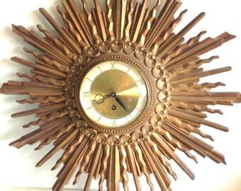 Vintage 1960's Syroco 8 Day Atomic Sunburst Clock
