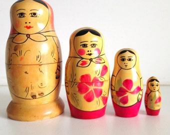Vintage Wooden Russian Nesting Dolls