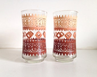 Retro Southwest/Aztec Geometric Pattern Drinking Glasses