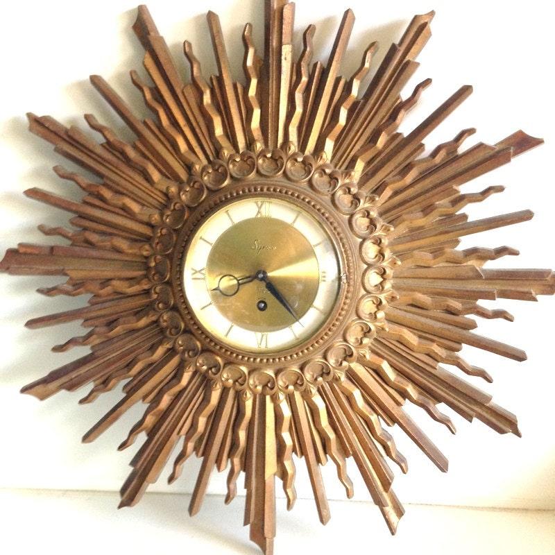 Vintage 1960 S Syroco 8 Day Atomic Sunburst Clock