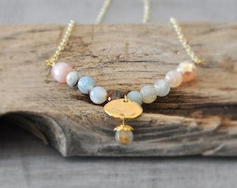 Minimal Gemstone Necklace,  Beaded Agate Necklace,  Boho Gold Neklace,  Free Shipping