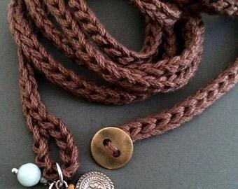 Brown crochet wrap bracelet with charms, cuff bracelet, bohemian jewelry, crochet jewelry, fiber jewelry, spring fashion, coffycrochet