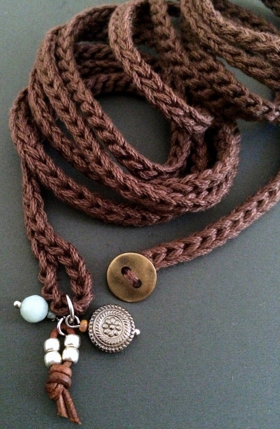 brown crochet wrap bracelet with charms cuff by coffycrochet