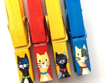 CAT CLOTHESPINS red blue yellow hand painted magnets
