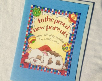 PROUD NEW PARENTS congratulations new puppy owners blank greeting card