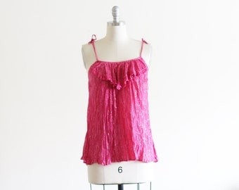 Vintage Gauze and Lurex Tank / Made in India / Indian Cotton / XS S