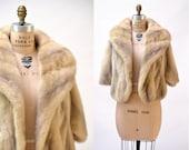 Vintage Mink Stole Cream Blonde Silver Vintage Fur Stole Cape// Vintage Fur Cape in Blonde Cream Winter Wedding