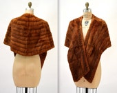 Vintage Brown Fur Stole Wrap Large// Brown Vintage Fur Stole Cape Caplet Fur Wrap Winter Wedding