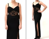 90s Vintage Black Prom Dress Evening Gown Size Small by Susan Roselli// Black 90s Illusion Cut Cut out Dress Small Lace Beaded Body Con